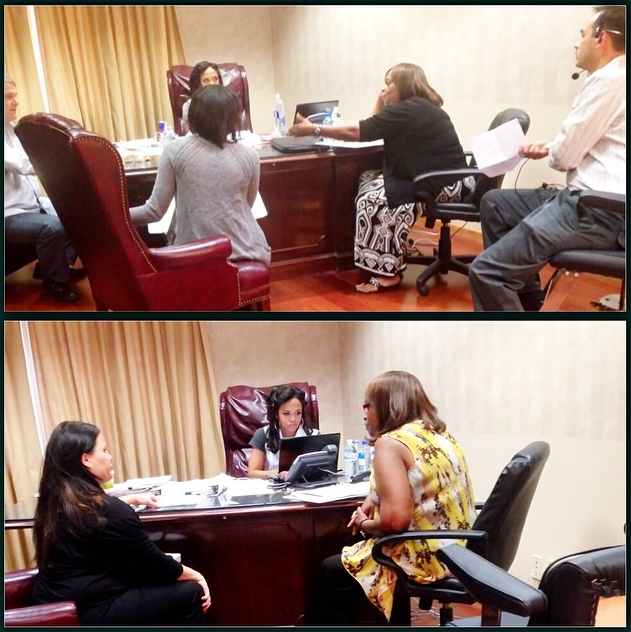 (Top Center) Discussing the details of a case with Faith & the show's Executive Producers